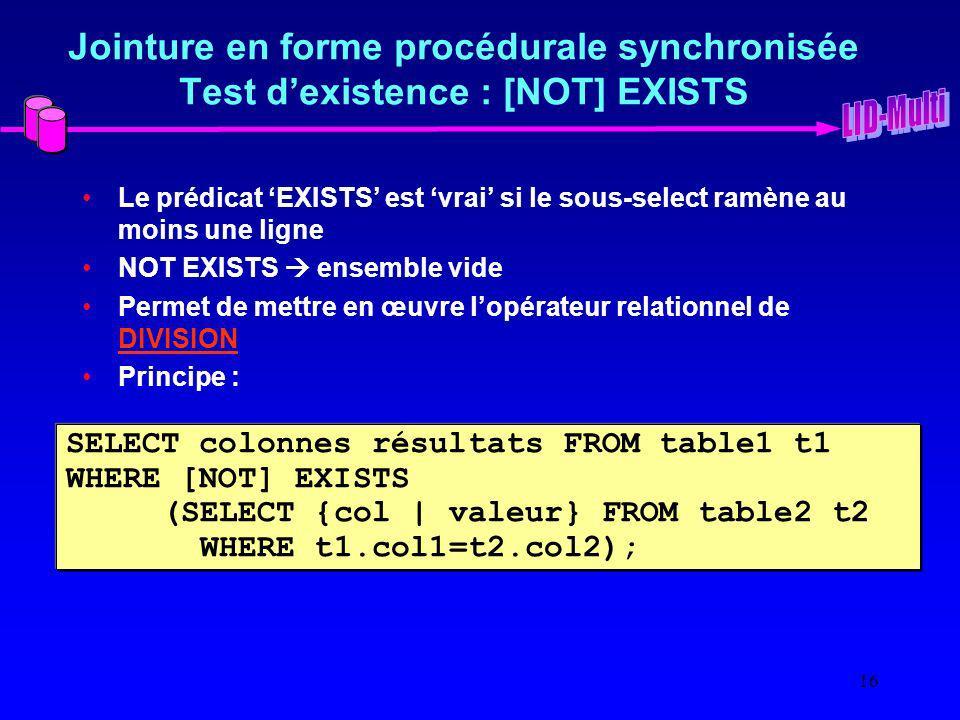 Jointure en forme procédurale synchronisée Test d'existence : [NOT] EXISTS